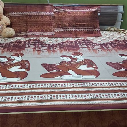 Brown color King Size Bedsheet 108× 108 Inch Soft Cotton Material