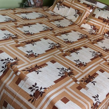 Light Brown – White color King Size Bedsheet 108× 108 Inch Soft Cotton Material